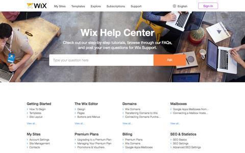Screenshot of Support Page wix.com - Support Center | Wix.com - captured Oct. 26, 2014