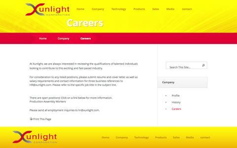 Screenshot of Jobs Page xunlight.com - Careers - Xunlight - captured Sept. 17, 2014