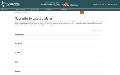 Screenshot of Signup Page shoemakermfg.com - Shoemaker Subscription Manager - captured Oct. 19, 2018
