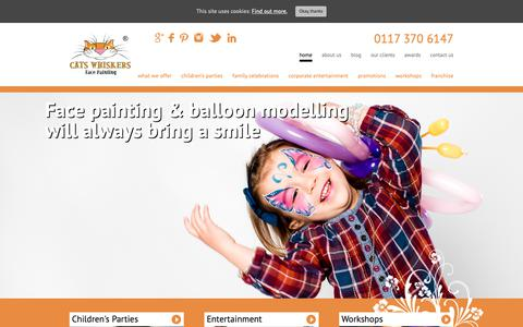 Screenshot of Home Page catswhiskers.biz - Face Painting Bristol, Bath, South Glos - Cats Whiskers - captured Sept. 27, 2018