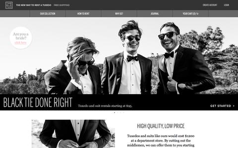 Screenshot of Home Page theblacktux.com - Tuxedo and Suit rentals. Higher Quality, Lower Price. | The Black Tux - captured Jan. 15, 2015