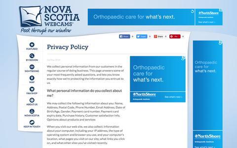 Screenshot of Privacy Page novascotiawebcams.com - Nova Scotia Webcams - Privacy Policy | About Us - captured June 30, 2017