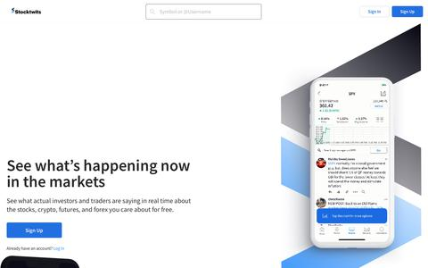 Screenshot of Home Page stocktwits.com - Stocktwits - The largest community for investors and traders - captured Oct. 17, 2019