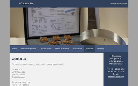 Screenshot of Contact Page hqsonics.com - Contact – HQSonics BV - captured Oct. 12, 2016