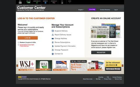 Screenshot of Support Page wsj.com - Customer Center - Login - The Wall Street Journal - captured Sept. 19, 2014