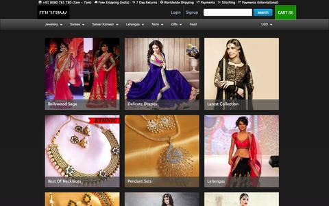 Screenshot of Home Page mirraw.com - Artificial Jewellery Online, Buy Fashion, Imitation Jewellery Online India - captured Sept. 18, 2014
