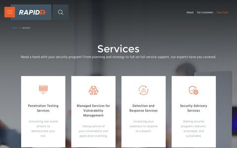 Screenshot of Services Page rapid7.com - Cyber Security Services | Rapid7 - captured Dec. 19, 2016