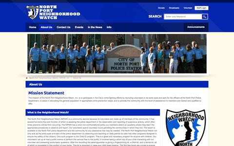 Screenshot of About Page npnw.org - About Us - North Port Neighborhood Watch | NPNW, Inc - captured Oct. 1, 2014