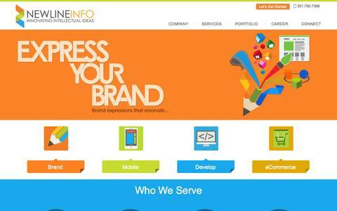 Screenshot of Home Page newlineinfo.com - Newlineinfo Corp - Web Development Company   Mobile application development Company in Maryland   Washington DC   Virginia. - captured Oct. 8, 2014