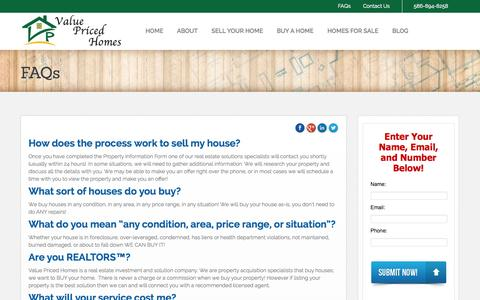 Screenshot of FAQ Page valuepricedhomes.com - FAQs | Value Priced Homes - captured Oct. 9, 2014
