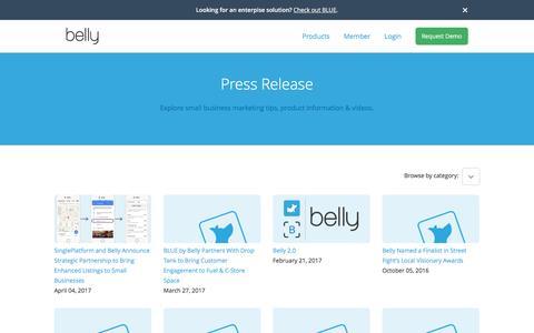 Screenshot of Press Page bellycard.com - Business Customer Loyalty Program   Belly - captured April 30, 2017