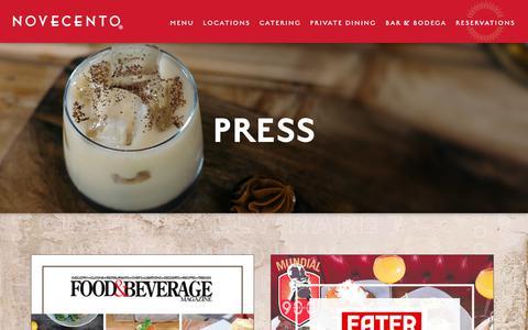 Screenshot of Press Page novecento.com - Press | Novecento - captured Oct. 20, 2018