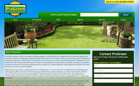 Screenshot of Home Page progreen.com - Artificial Grass Synthetic Turf for Lawns, Dogs, Putting Greens - captured Sept. 18, 2015