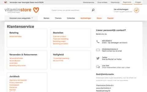 Screenshot of Support Page vitaminstore.nl - Klantenservice | Vitaminstore.nl - captured Sept. 24, 2018