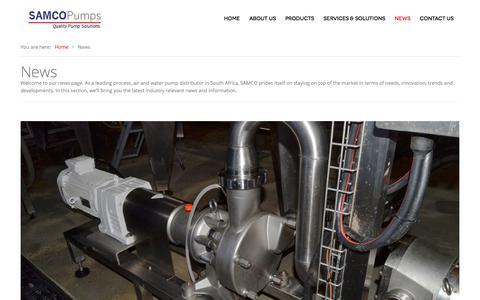 Screenshot of Press Page samcopumps.co.za - Water Pump Distributor   Pump Industry News   Quality Pump Solutions - captured July 26, 2018