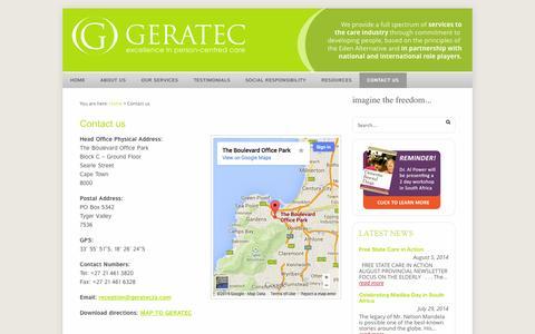Screenshot of Contact Page geratecza.com - Contact us | GERATEC - captured Oct. 1, 2014