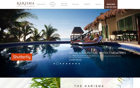 Screenshot of Home Page karismahotels.com - All Inclusive Resorts in Mexico, Jamaica, and More | Karisma Hotels & Resorts - captured Oct. 1, 2015