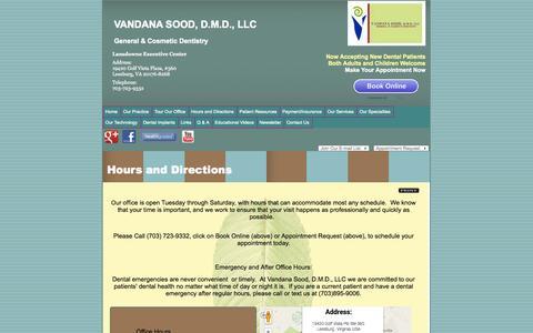 Screenshot of Hours Page drvsood.com - Hours and Directions in Leesburg | Lansdowne Hours and Directions | Ashburn, VA  Dentist - captured Oct. 7, 2014