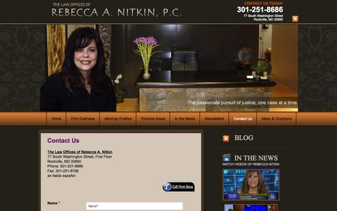 Screenshot of Contact Page nitkinlaw.com - Contact Us   The Law Offices of Rebecca A. Nitkin, P.C. - captured Oct. 26, 2014