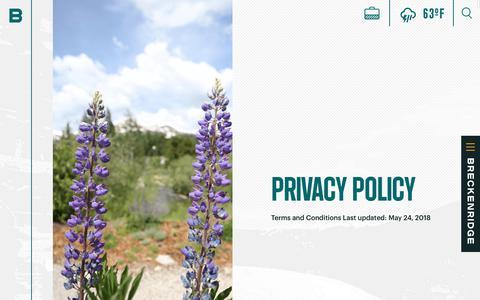 Screenshot of Privacy Page gobreck.com - Breckenridge Tourism Office Privacy Policy - Breckenridge, Colorado - captured July 21, 2018