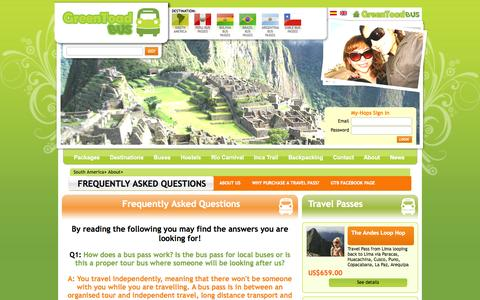Screenshot of FAQ Page greentoadbus.com - Green Toad Bus Frequently Asked Questions - Green Toad Bus - captured Oct. 3, 2014
