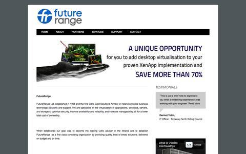 Screenshot of Home Page futurerange.ie - Future Range Home Page - captured Oct. 6, 2014