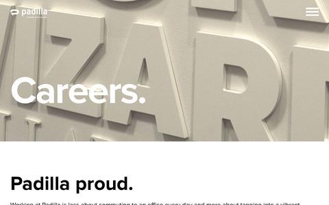 Screenshot of Jobs Page padillaco.com - Careers - Padilla - captured Nov. 2, 2018
