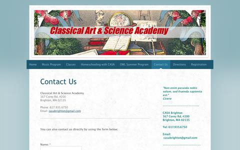 Screenshot of Contact Page classicalartandscienceacademy.com - Contact Us - - captured Oct. 2, 2014