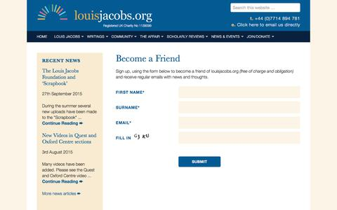 Screenshot of Signup Page louisjacobs.org - Become a Friend - Friends of Louis Jacobs - captured Feb. 24, 2018
