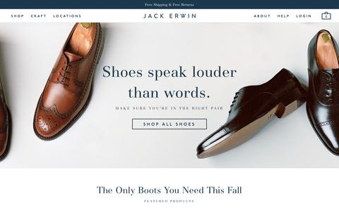 Screenshot of Home Page jackerwin.com - A New Approach To Men's Shoes    Đ Jack Erwin - captured Nov. 3, 2015