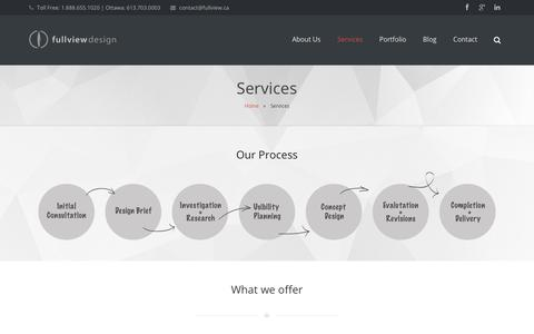 Screenshot of Services Page fullview.ca - Services | FullView Design - captured Oct. 14, 2017