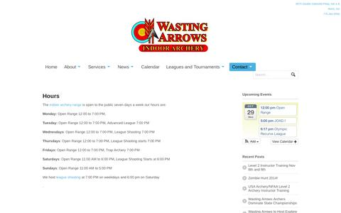 Screenshot of Hours Page wastingarrows.com - Hours - Wasting Arrows Archery - captured Oct. 29, 2014