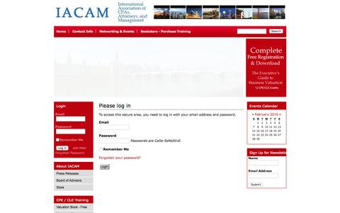 Screenshot of Login Page iacam.org - International Association of CPAs, Attorneys, and Management (IACAM) - captured Feb. 3, 2016