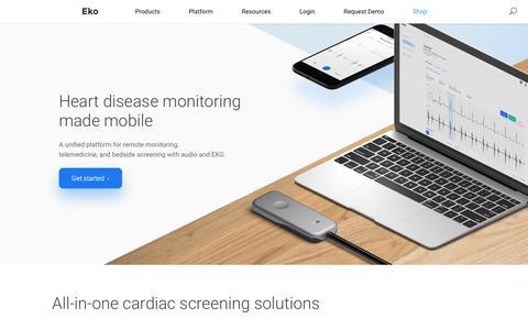 Screenshot of Home Page ekohealth.com - Eko | Mobile Heart Disease Monitoring - captured Oct. 28, 2018