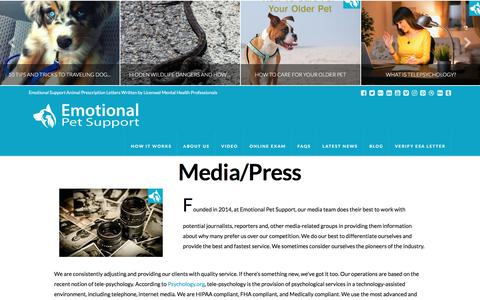 Screenshot of Press Page emotionalpetsupport.com - Media and Press Inquiries Page - Emotional Pet Support - captured July 9, 2018