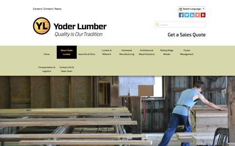 Screenshot of About Page yoderlumber.com - Yoder Lumber, Berlin Ohio | Fine Appalachian Hardwoods - captured Feb. 17, 2016