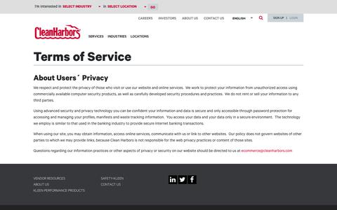 Screenshot of Terms Page cleanharbors.com - Terms of Service | Clean Harbors - captured March 23, 2019
