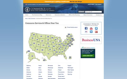Screenshot of Services Page commerce.gov - Commerce Services & Offices Near You | Department of Commerce - captured Sept. 18, 2014