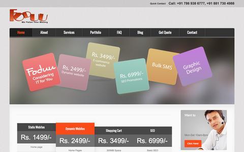Screenshot of Home Page foduu.com - Cheap web design company india website at Rs.1499, $99 - captured Sept. 23, 2014