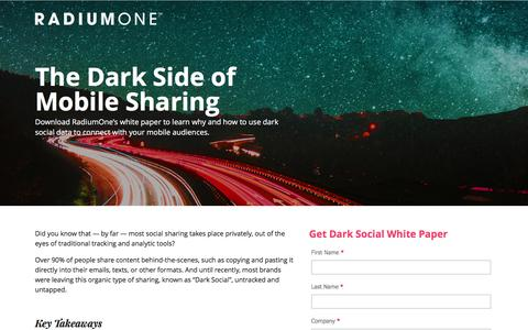 Screenshot of Landing Page radiumone.com - Dark Social Data Report - captured March 30, 2017