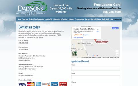 Screenshot of Contact Page dadsonsinc.com - Dadsons Automotive & Collision Centre - Muncie, IN - captured Nov. 23, 2016