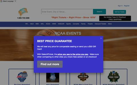 Screenshot of selectaticket.com - NCAA - captured Jan. 17, 2018