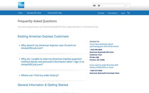 Screenshot of FAQ Page amexgiftcard.com - Frequently Asked Questions  | American Express - captured Nov. 3, 2018