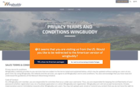 Screenshot of Privacy Page wingbuddy.com - Wingbuddy: PRIVACY TERMS AND CONDITIONS WINGBUDDY - captured Nov. 30, 2016
