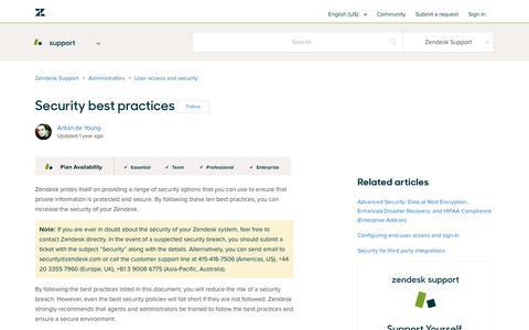 Screenshot of Support Page zendesk.com - Security best practices – Zendesk Support - captured Aug. 4, 2018