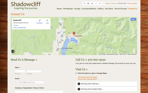 Screenshot of Contact Page shadowcliff.org - Contact Us « Shadowcliff Mountain Lodge - captured Nov. 5, 2014