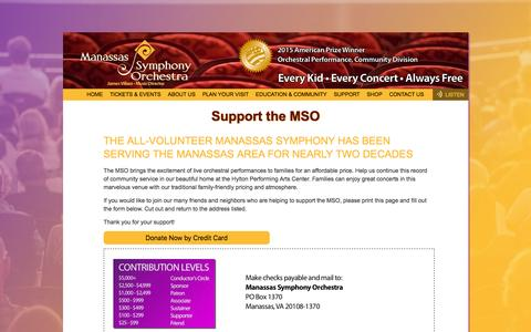 Screenshot of Support Page manassassymphony.org - Manassas Symphony Orchestra - Your Hometown Symphony - captured Feb. 4, 2016