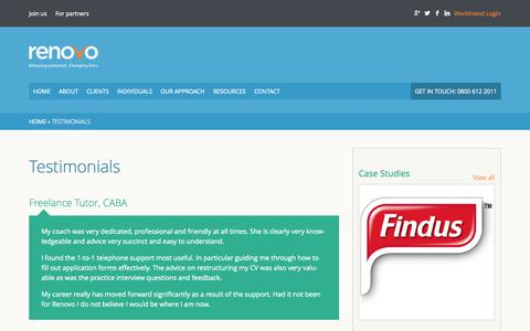 Screenshot of Testimonials Page renovo.uk.com - Testimonials - Renovo - captured Oct. 26, 2014