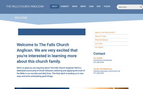 Screenshot of About Page tfcanglican.org - New at TFCA? - The Falls Church Anglican - captured Oct. 18, 2018