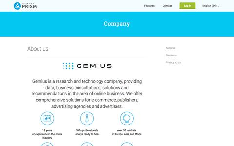 Screenshot of About Page gemius.com - About us - Gemius Prism - captured Sept. 23, 2018